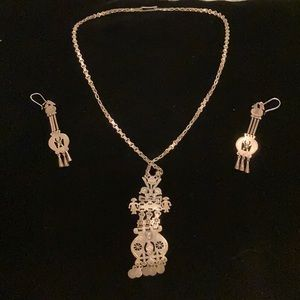 Sterling silver earrings and necklace set